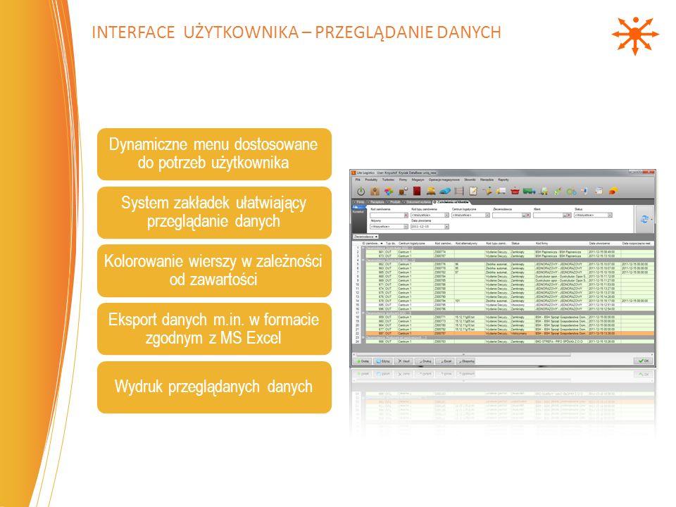 Interface użytkownika – przeglądanie danych