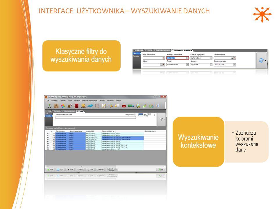 Interface użytkownika – Wyszukiwanie danych
