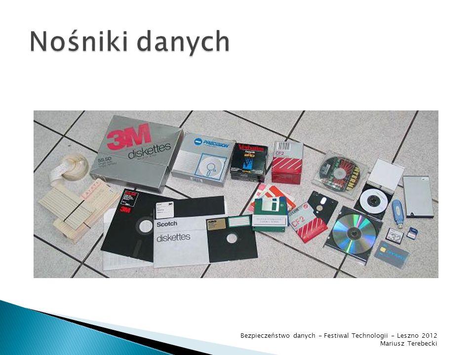 Nośniki danych Bezpieczeństwo danych - Festiwal Technologii - Leszno 2012 Mariusz Terebecki