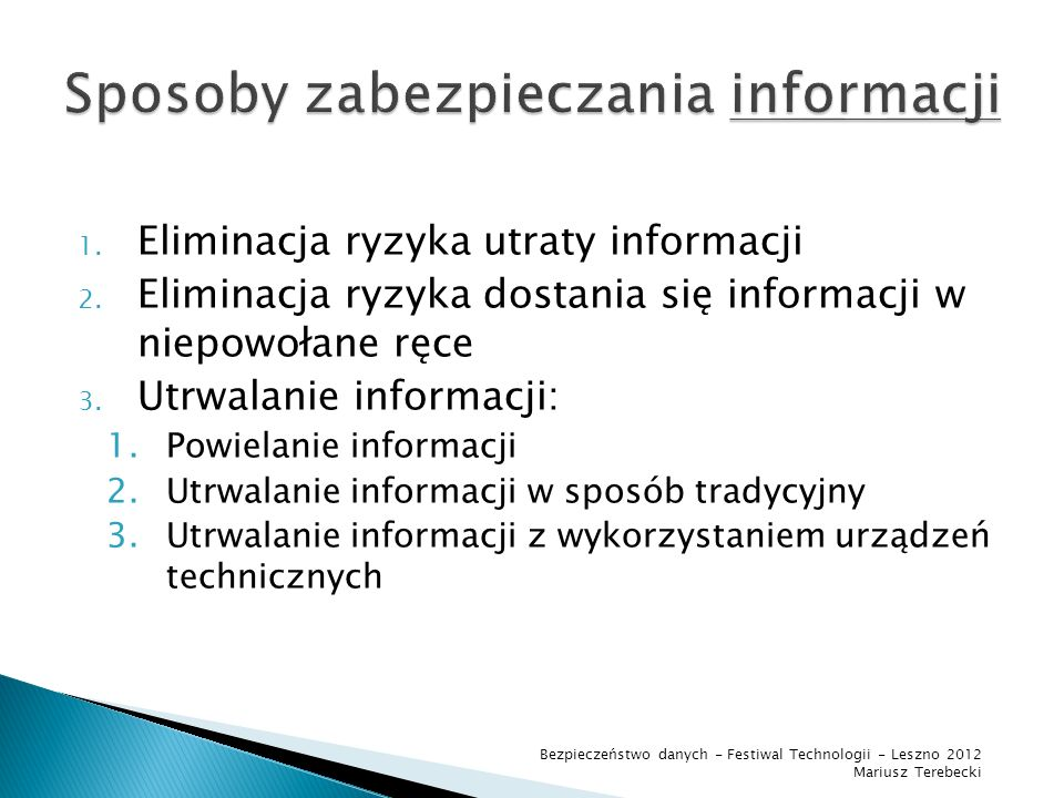 Sposoby zabezpieczania informacji