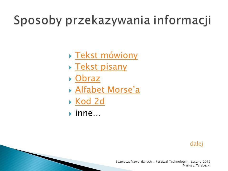 Sposoby przekazywania informacji