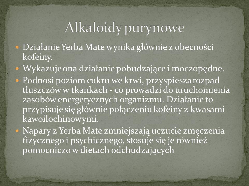 Alkaloidy purynowe Działanie Yerba Mate wynika głównie z obecności kofeiny. Wykazuje ona działanie pobudzające i moczopędne.