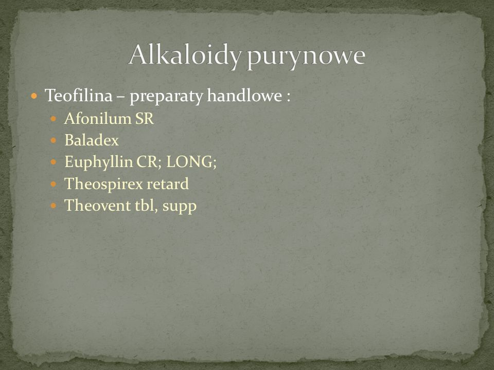 Alkaloidy purynowe Teofilina – preparaty handlowe : Afonilum SR