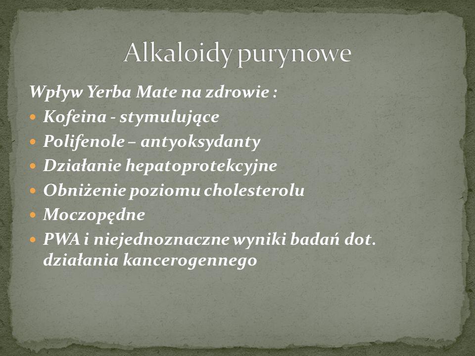 Alkaloidy purynowe Wpływ Yerba Mate na zdrowie : Kofeina - stymulujące