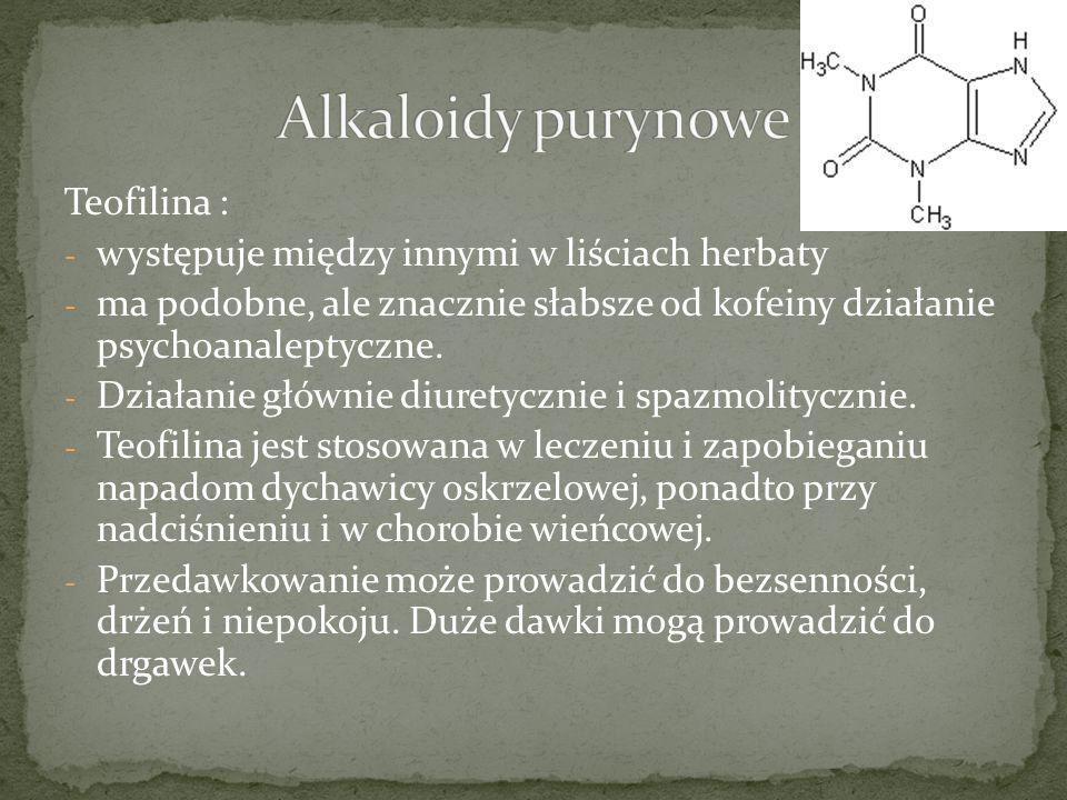 Alkaloidy purynowe Teofilina :