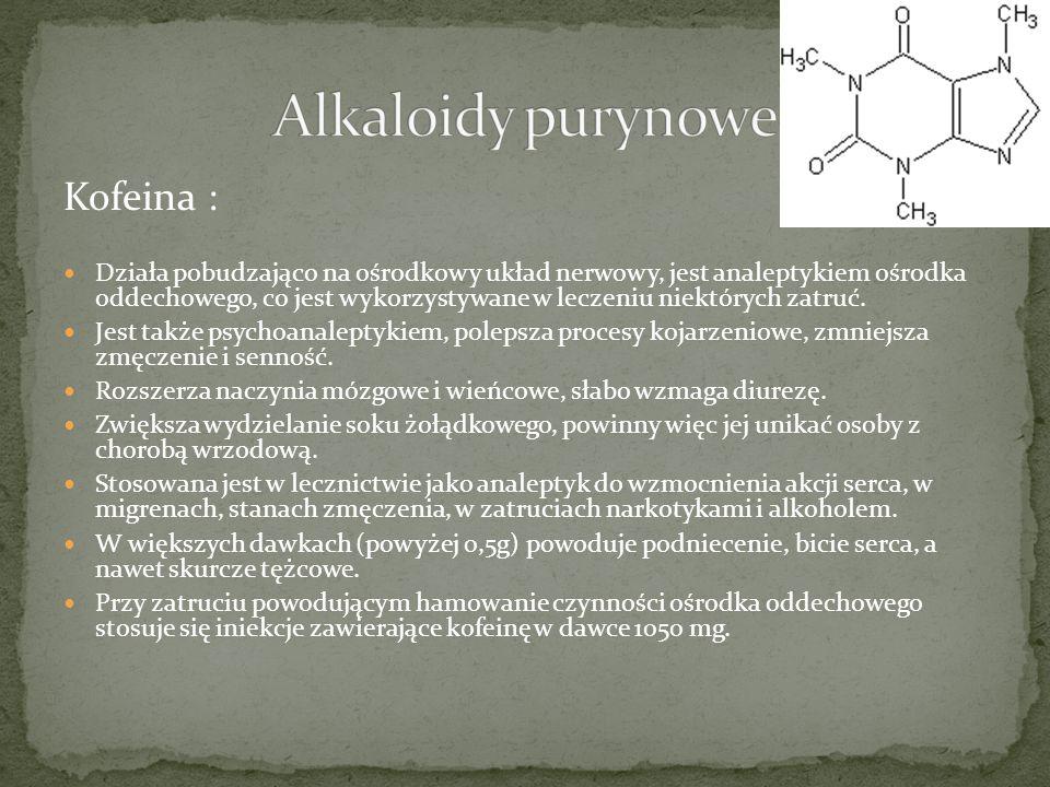 Alkaloidy purynowe Kofeina :