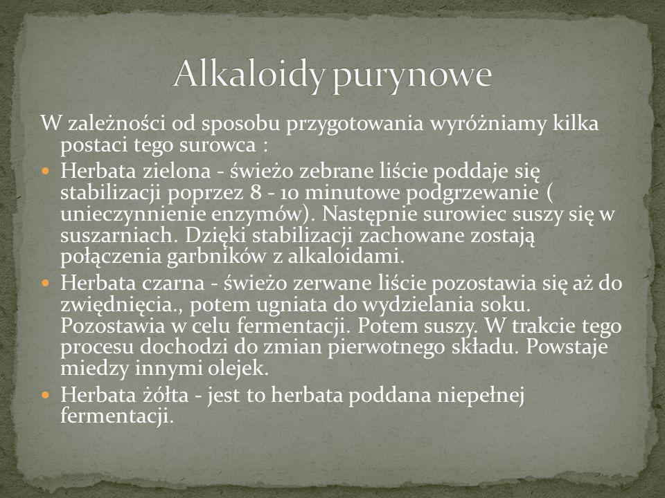 Alkaloidy purynowe W zależności od sposobu przygotowania wyróżniamy kilka postaci tego surowca :