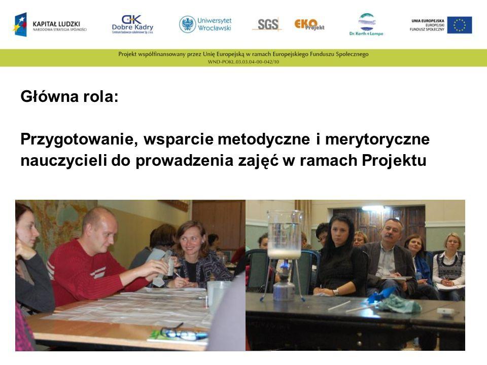 Główna rola: Przygotowanie, wsparcie metodyczne i merytoryczne nauczycieli do prowadzenia zajęć w ramach Projektu.