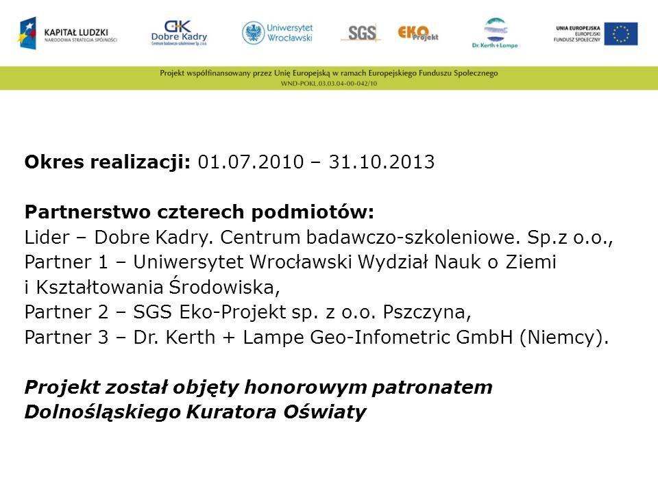 Okres realizacji: 01.07.2010 – 31.10.2013 Partnerstwo czterech podmiotów: Lider – Dobre Kadry.