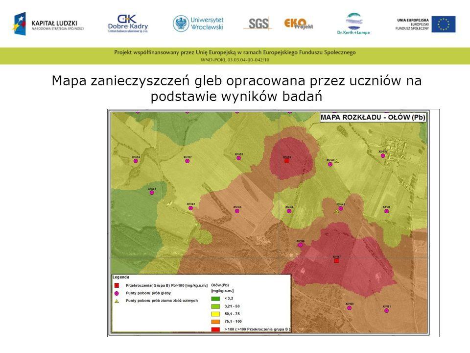 Mapa zanieczyszczeń gleb opracowana przez uczniów na podstawie wyników badań