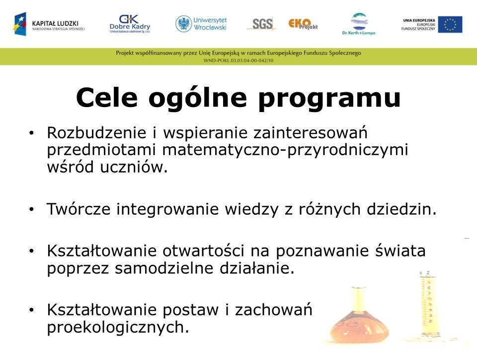 Cele ogólne programu Rozbudzenie i wspieranie zainteresowań przedmiotami matematyczno-przyrodniczymi wśród uczniów.