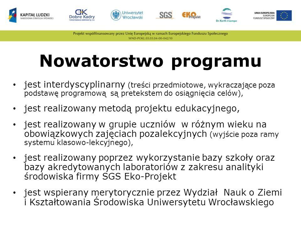 Nowatorstwo programu jest interdyscyplinarny (treści przedmiotowe, wykraczające poza podstawę programową są pretekstem do osiągnięcia celów),