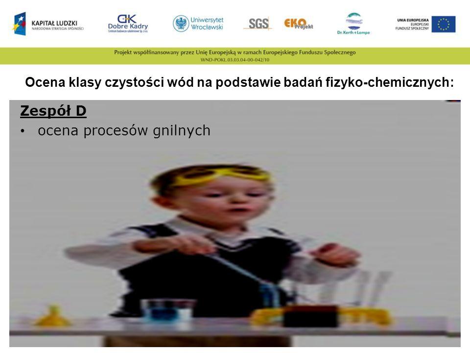 Ocena klasy czystości wód na podstawie badań fizyko-chemicznych: