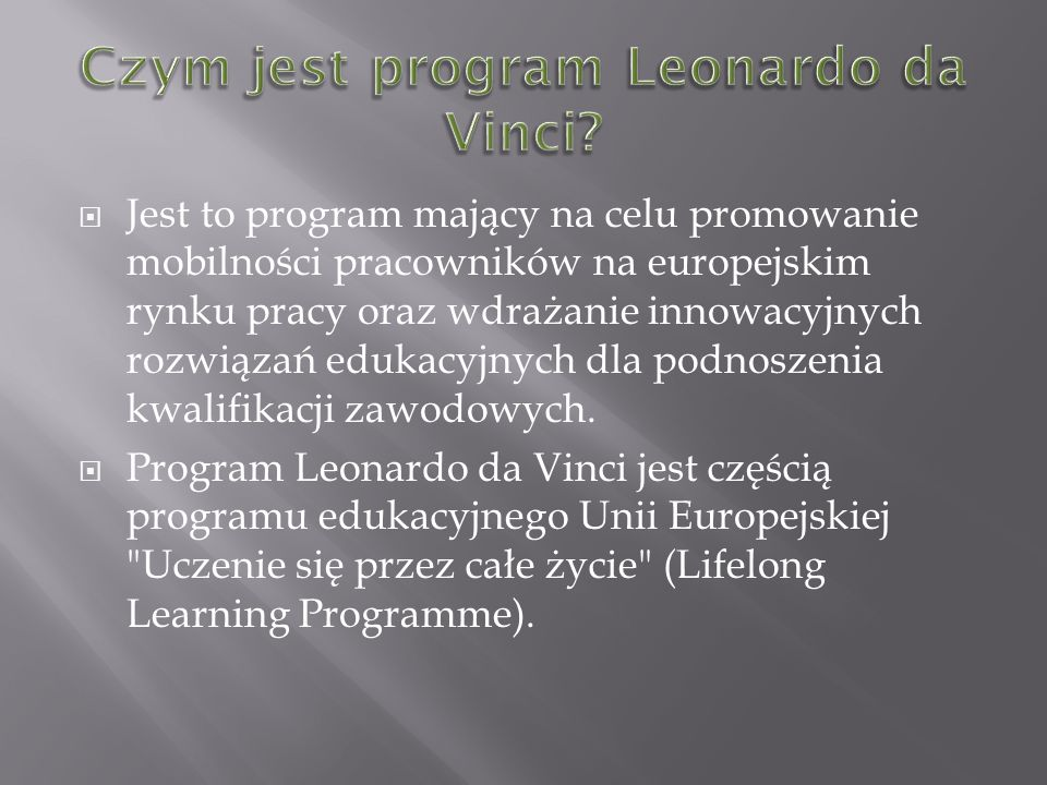 Czym jest program Leonardo da Vinci