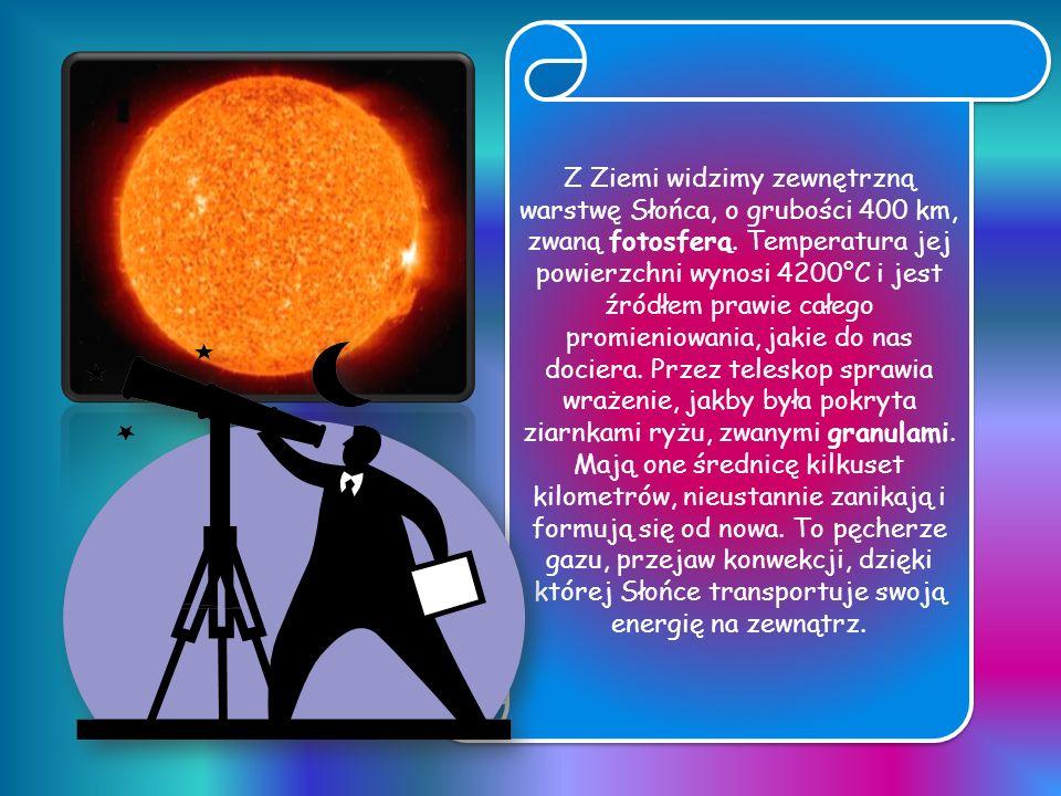 Z Ziemi widzimy zewnętrzną warstwę Słońca, o grubości 400 km, zwaną fotosferą.