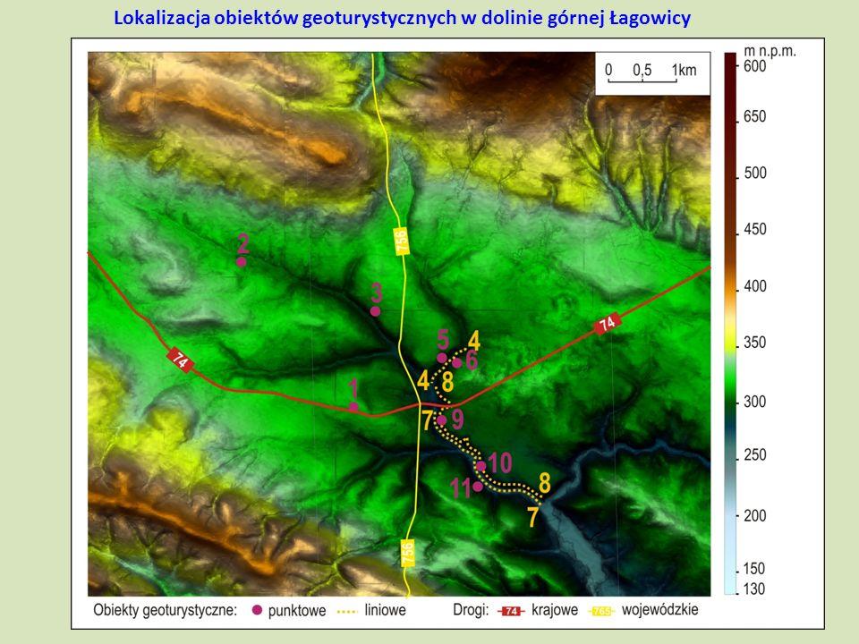 Lokalizacja obiektów geoturystycznych w dolinie górnej Łagowicy