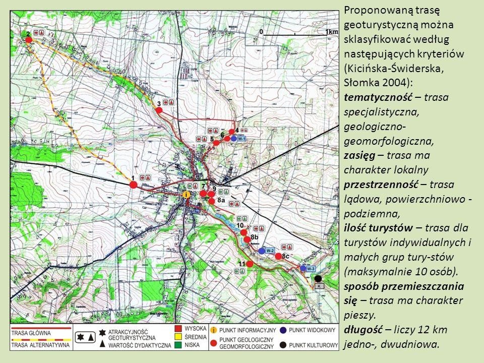 Proponowaną trasę geoturystyczną można sklasyfikować według następujących kryteriów (Kicińska-Świderska, Słomka 2004):