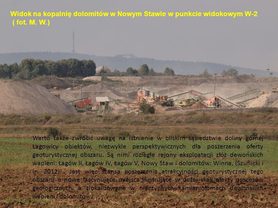 Widok na kopalnię dolomitów w Nowym Stawie w punkcie widokowym W-2