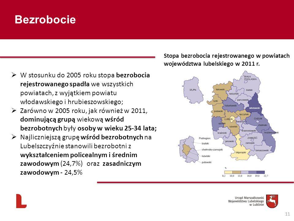 Bezrobocie Stopa bezrobocia rejestrowanego w powiatach województwa lubelskiego w 2011 r.