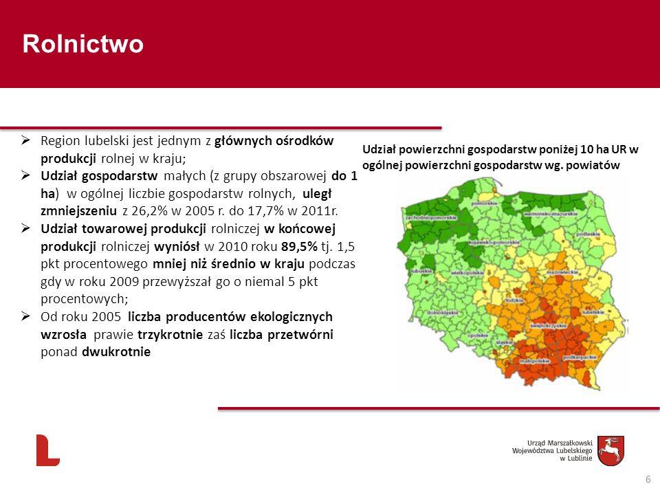 Rolnictwo Region lubelski jest jednym z głównych ośrodków produkcji rolnej w kraju;