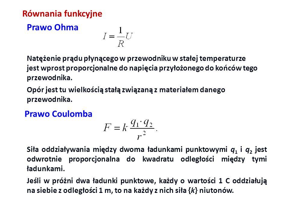 Równania funkcyjne Prawo Ohma Prawo Coulomba