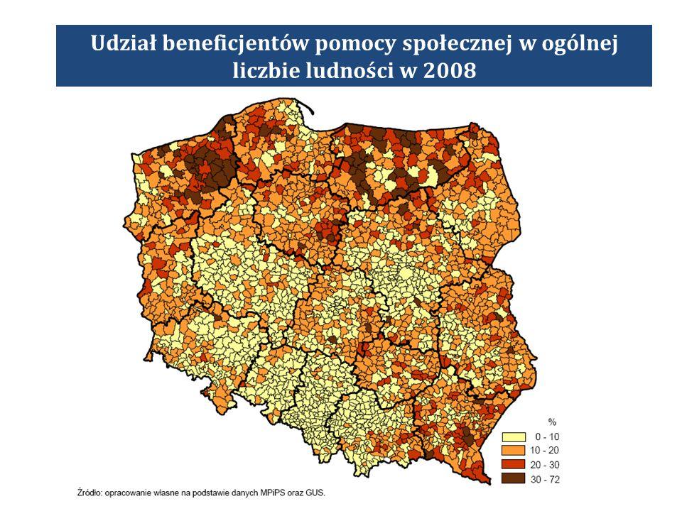 Udział beneficjentów pomocy społecznej w ogólnej liczbie ludności w 2008