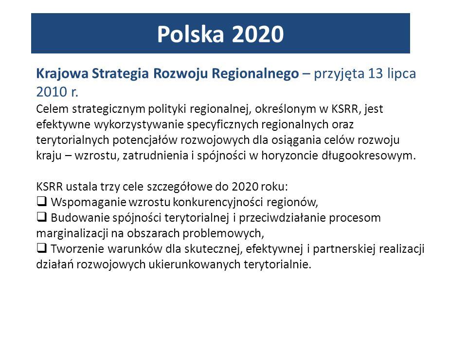 Polska 2020 Krajowa Strategia Rozwoju Regionalnego – przyjęta 13 lipca 2010 r.
