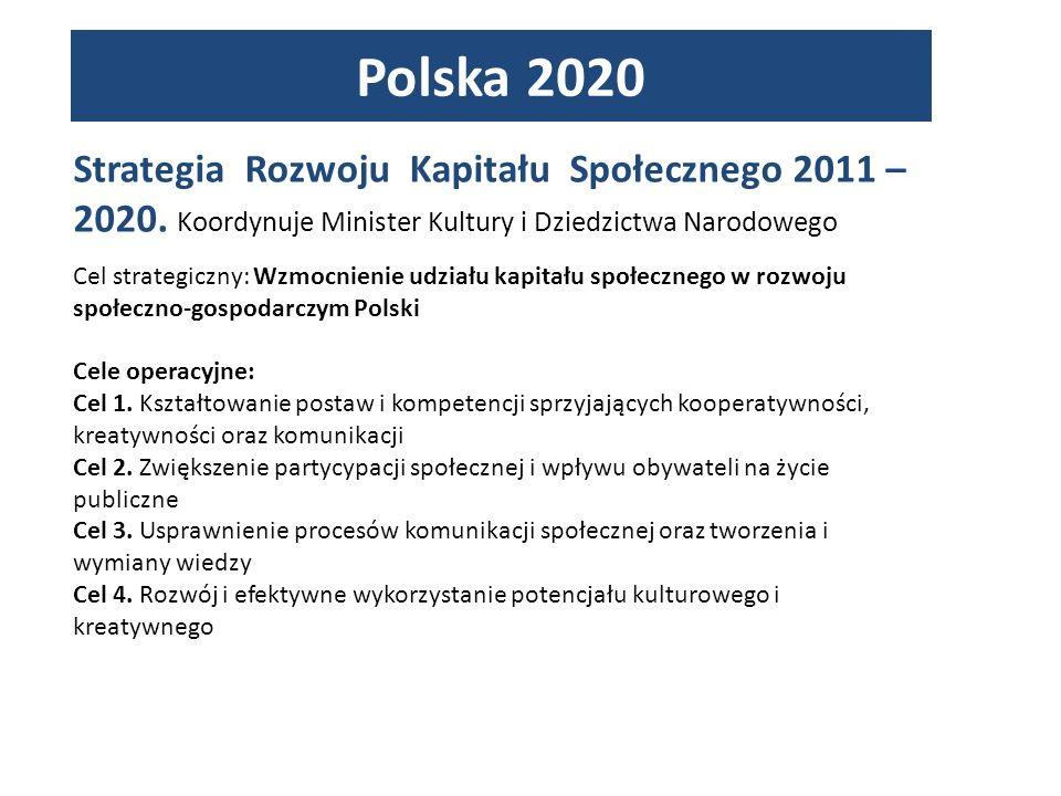 Polska 2020 Strategia Rozwoju Kapitału Społecznego 2011 – 2020. Koordynuje Minister Kultury i Dziedzictwa Narodowego.