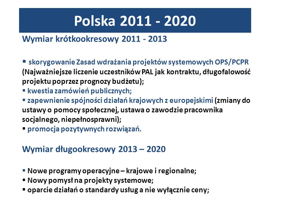 Polska 2011 - 2020 Wymiar krótkookresowy 2011 - 2013