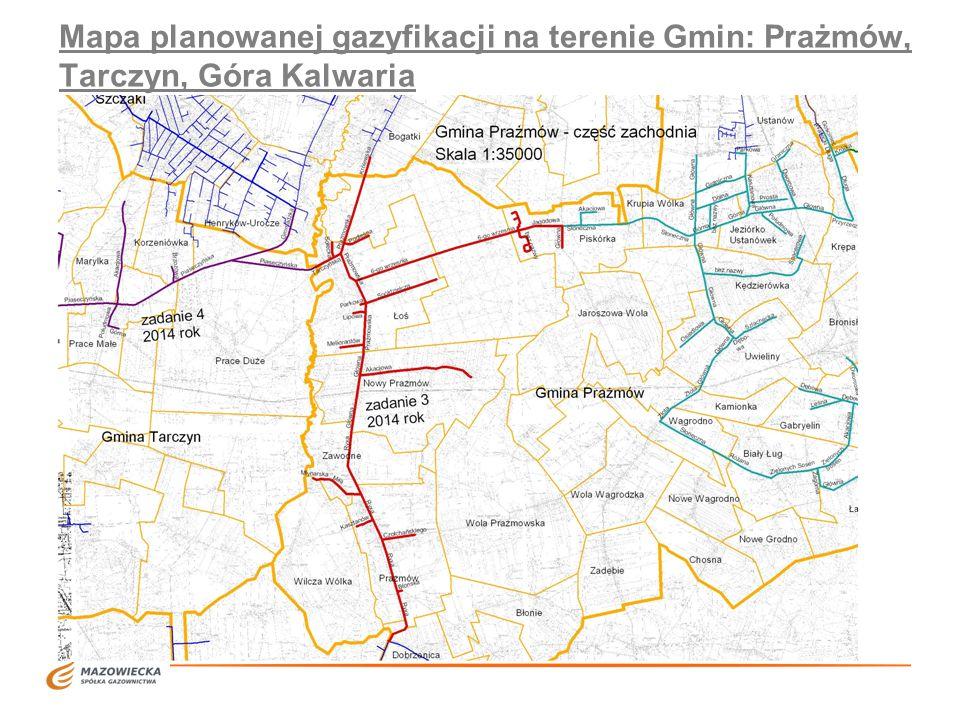 Mapa planowanej gazyfikacji na terenie Gmin: Prażmów, Tarczyn, Góra Kalwaria