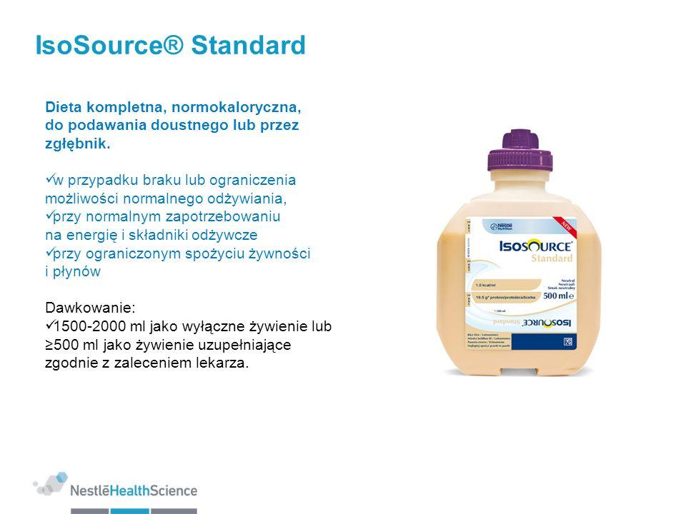 IsoSource® StandardDieta kompletna, normokaloryczna, do podawania doustnego lub przez zgłębnik.