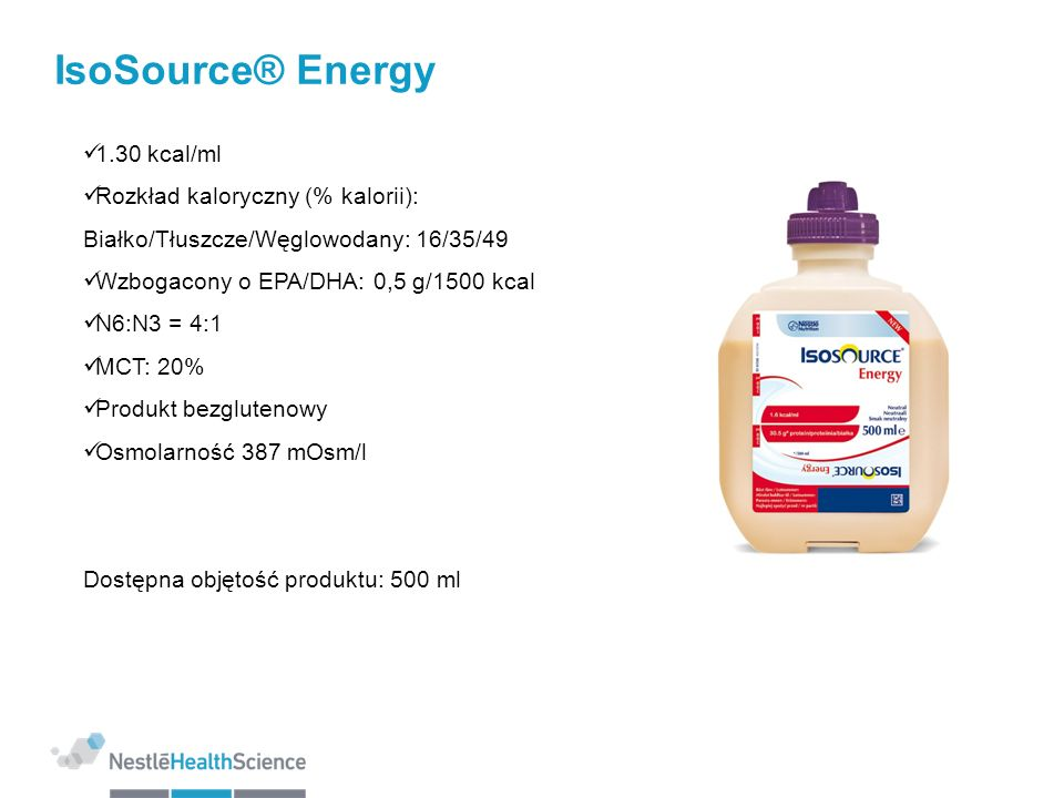 IsoSource® Energy 1.30 kcal/ml Rozkład kaloryczny (% kalorii):