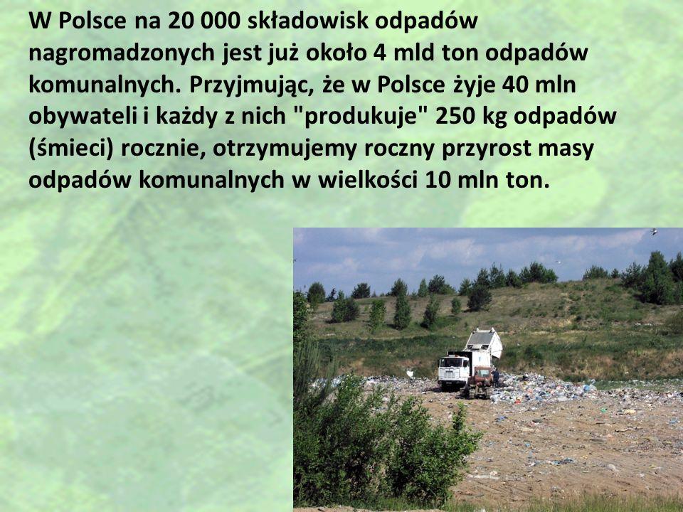 W Polsce na 20 000 składowisk odpadów nagromadzonych jest już około 4 mld ton odpadów komunalnych.