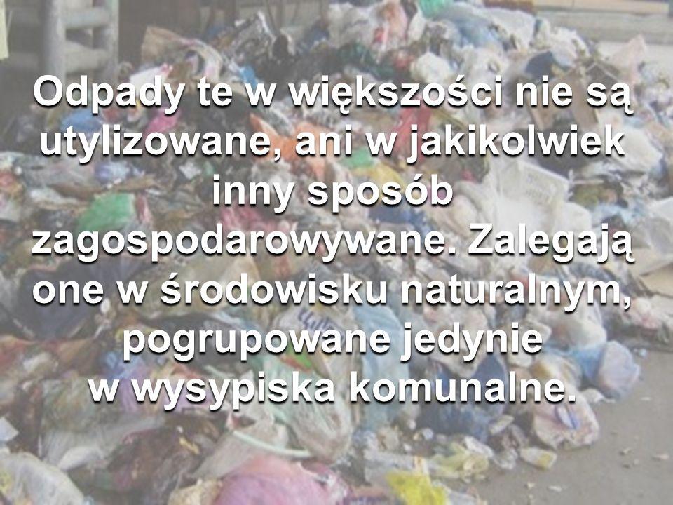 Odpady te w większości nie są utylizowane, ani w jakikolwiek inny sposób zagospodarowywane.