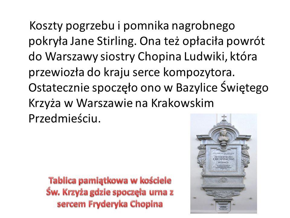 Koszty pogrzebu i pomnika nagrobnego pokryła Jane Stirling