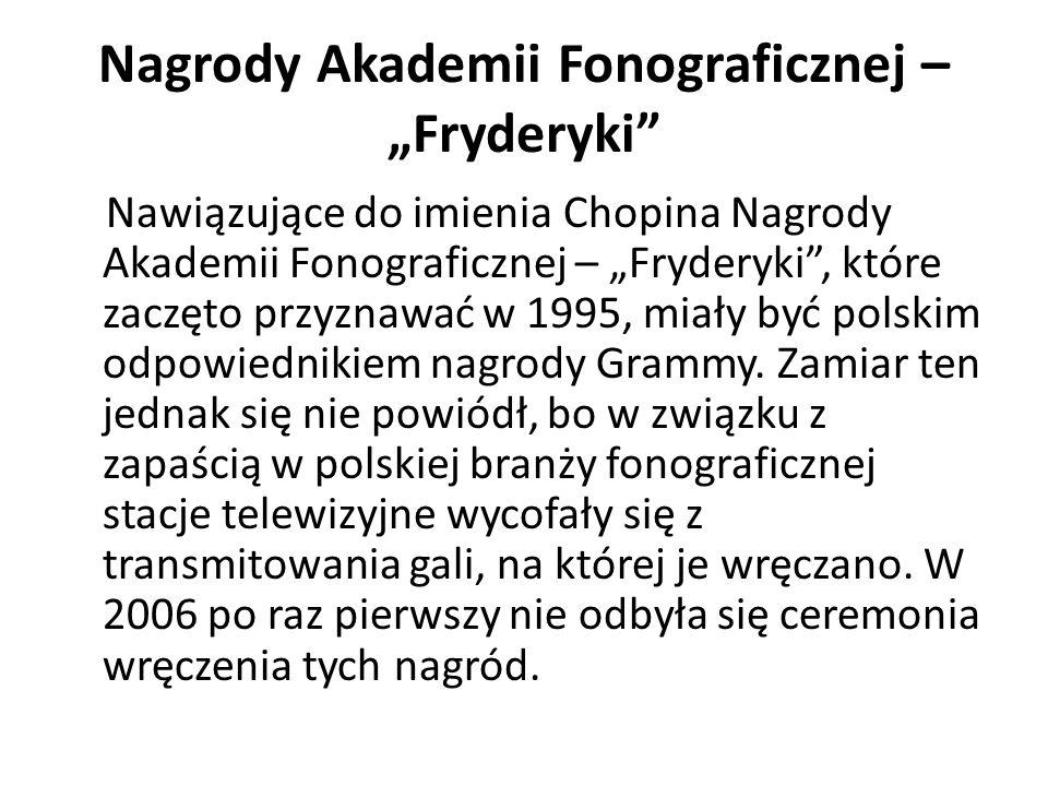 """Nagrody Akademii Fonograficznej – """"Fryderyki"""