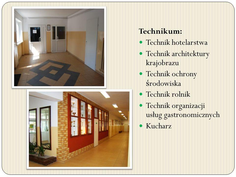 Technikum: Technik hotelarstwa. Technik architektury krajobrazu. Technik ochrony środowiska. Technik rolnik.