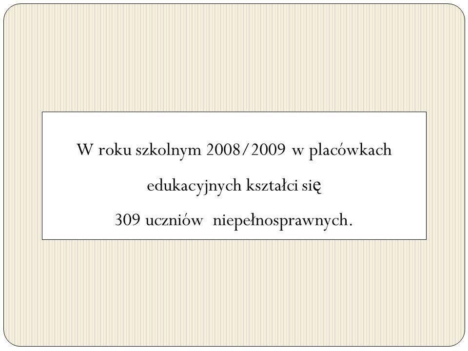 W roku szkolnym 2008/2009 w placówkach edukacyjnych kształci się 309 uczniów niepełnosprawnych.