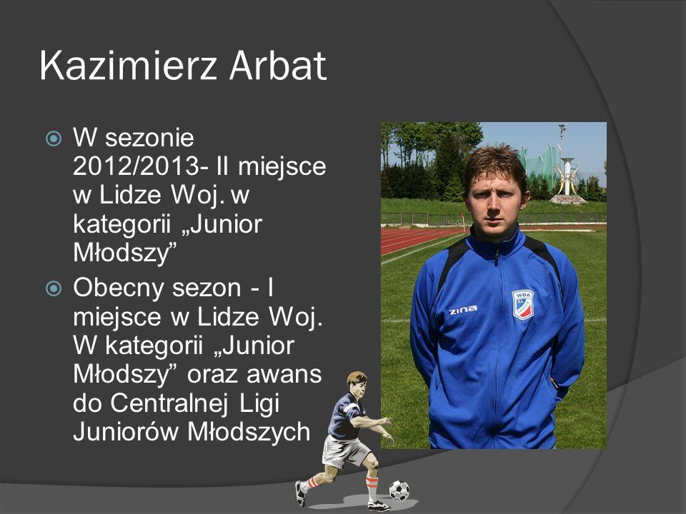 """Kazimierz Arbat W sezonie 2012/2013- II miejsce w Lidze Woj. w kategorii """"Junior Młodszy"""