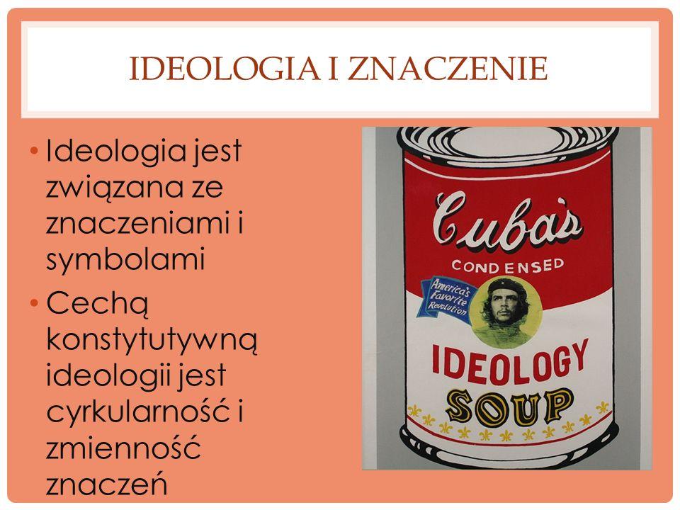 Ideologia i znaczenie Ideologia jest związana ze znaczeniami i symbolami.