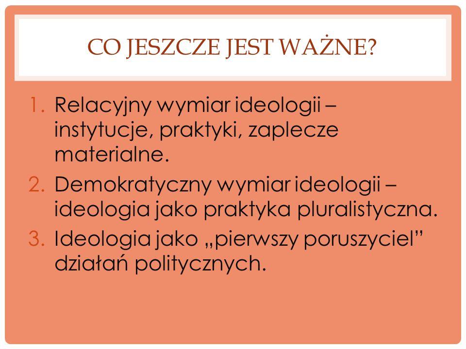 Co jeszcze jest ważne Relacyjny wymiar ideologii – instytucje, praktyki, zaplecze materialne.