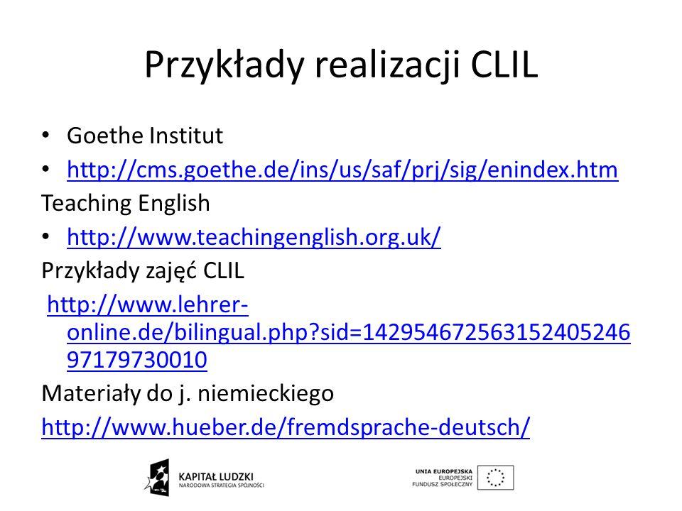 Przykłady realizacji CLIL