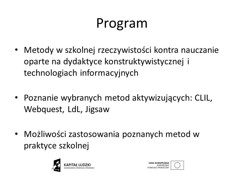 Program Metody w szkolnej rzeczywistości kontra nauczanie oparte na dydaktyce konstruktywistycznej i technologiach informacyjnych.