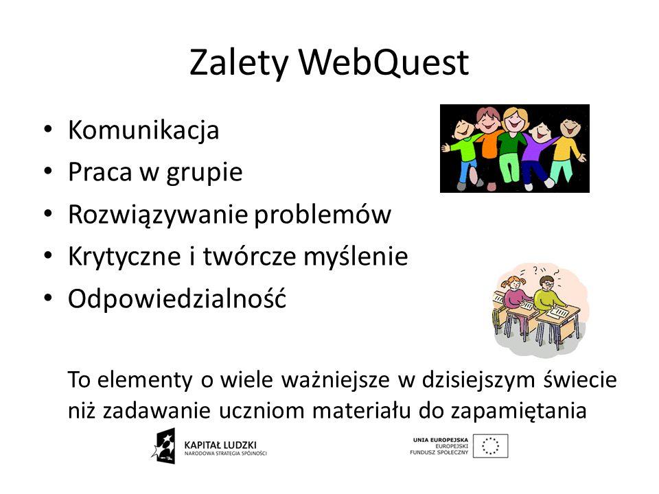 Zalety WebQuest Komunikacja Praca w grupie Rozwiązywanie problemów