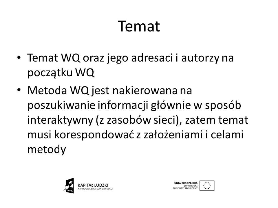 Temat Temat WQ oraz jego adresaci i autorzy na początku WQ