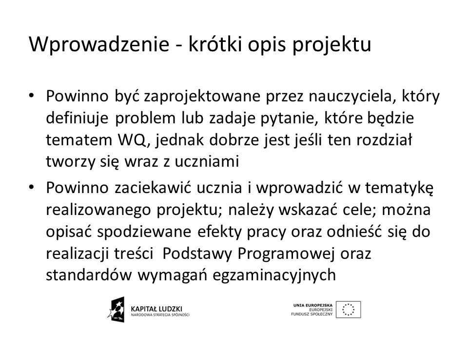 Wprowadzenie - krótki opis projektu