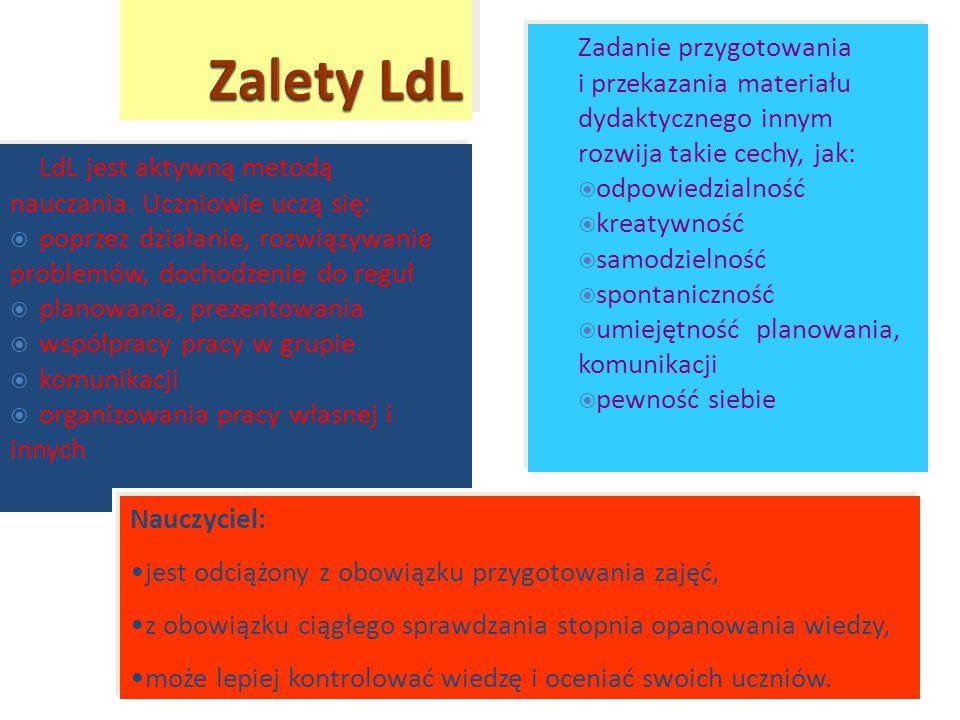 Zalety LdL Zadanie przygotowania i przekazania materiału dydaktycznego innym rozwija takie cechy, jak: