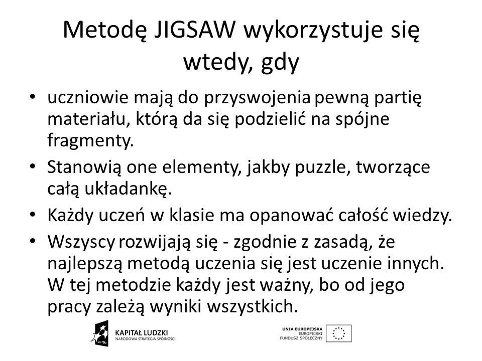 Metodę JIGSAW wykorzystuje się wtedy, gdy