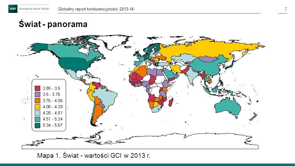 Świat - panorama Mapa 1. Świat - wartości GCI w 2013 r.