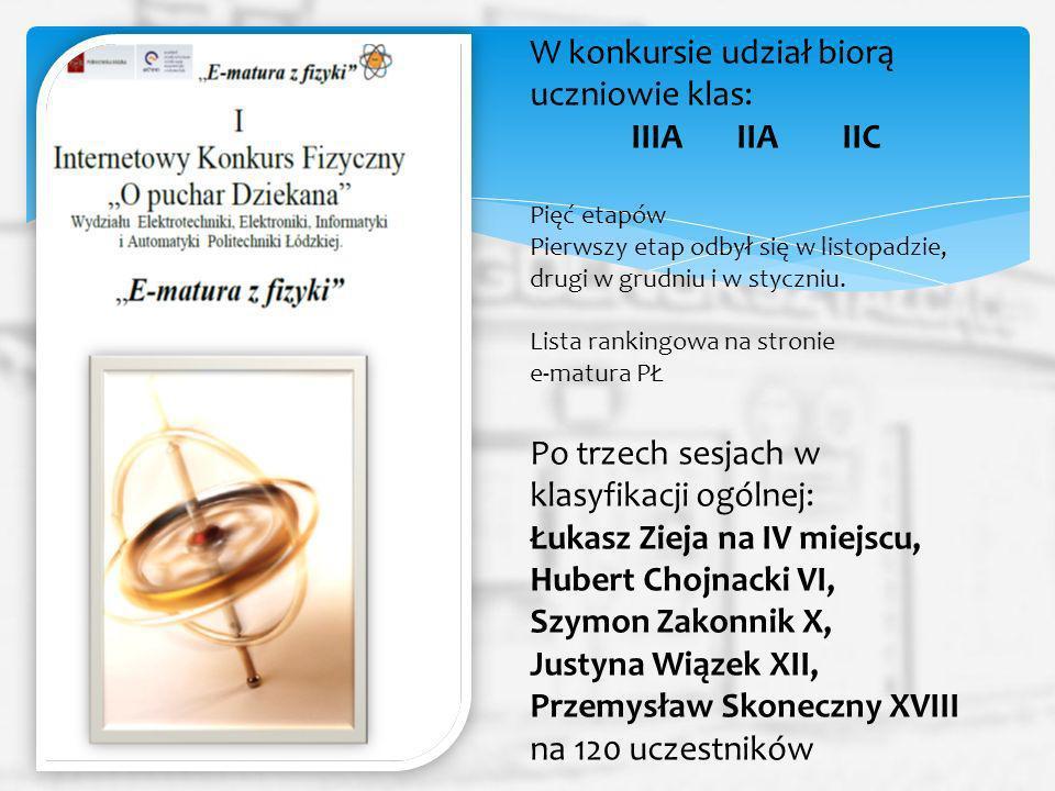 W konkursie udział biorą uczniowie klas: IIIA IIA IIC